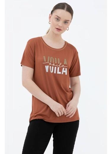 Sementa Baskılı Geniş Yaka Tshirt - Taba Taba